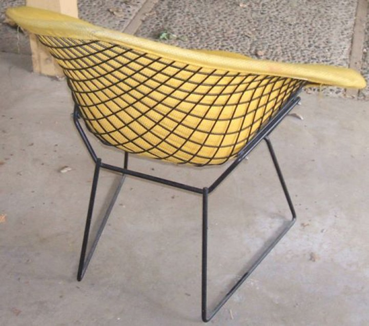Charming Vintage Bertoia Diamond Chair With Original Yellow Cover! CHECK. $75!!!  CHECK. One Hour Too Late. UNCHECK.