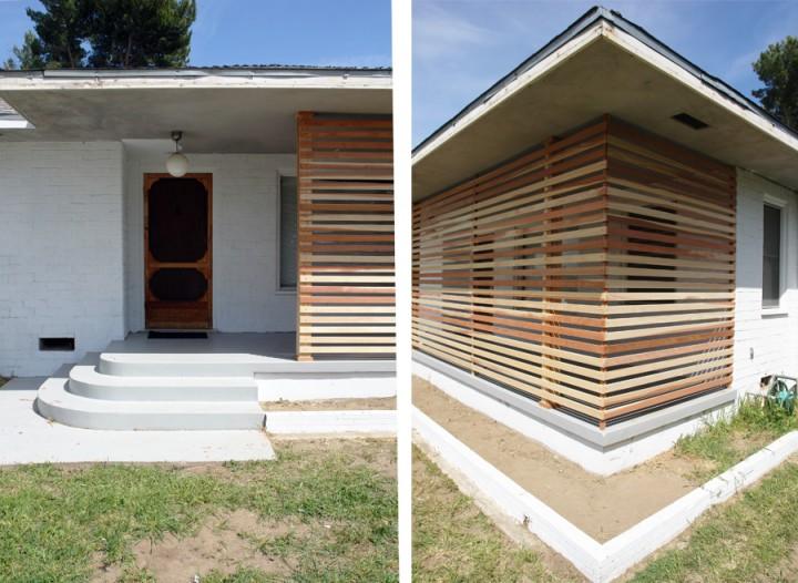 Wood Slat Screen Wall ~ Brick house