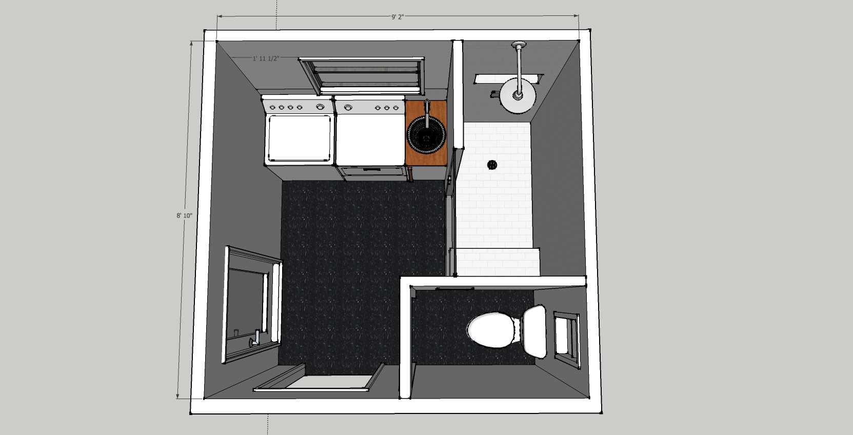 Brick house for Laundry bathroom floor plans