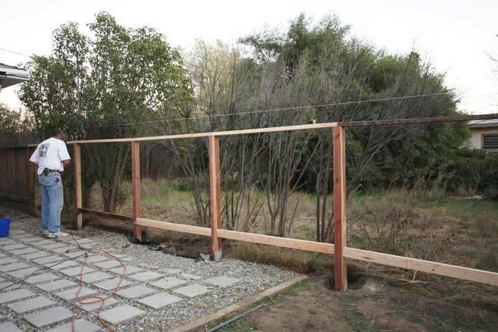 how to build a wood fence with brick posts