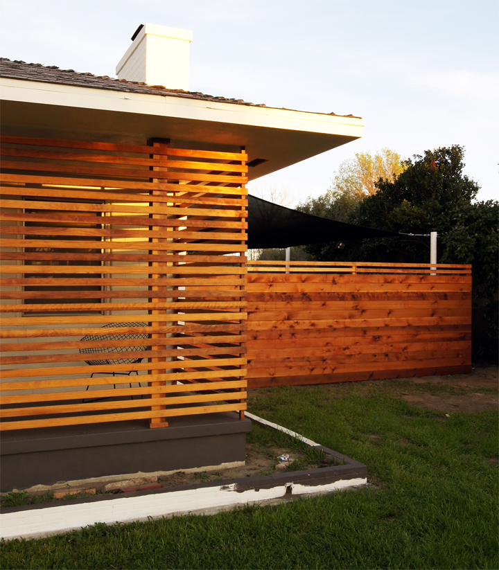 Through the power of internet immediacy, here it is all oiled up. We used  Penofin for the slat screen and then Superdeck for the fence. The logic  being?