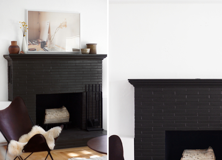 The gallery for Black Painted Brick Fireplace